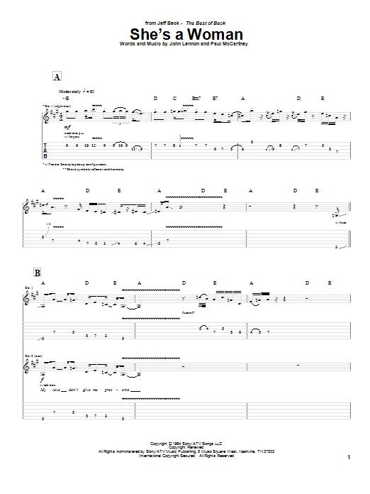 Tablature guitare She's A Woman de Jeff Beck - Tablature Guitare