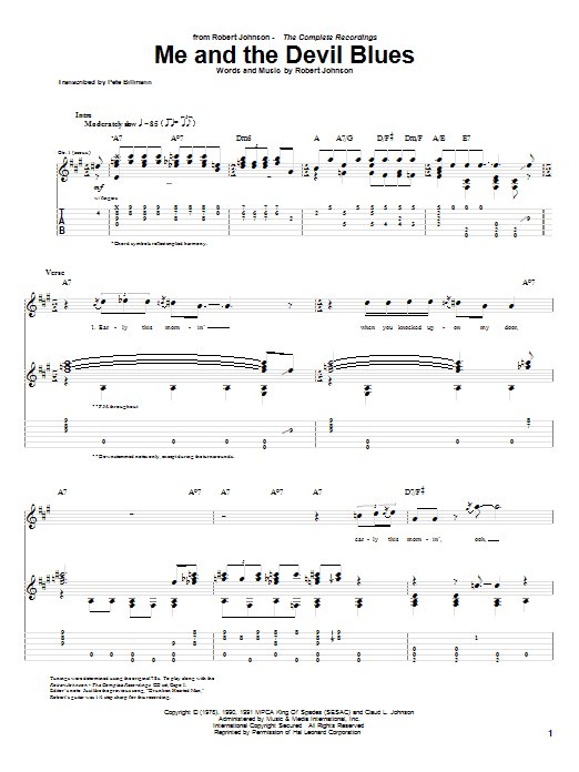 Tablature guitare Me And The Devil Blues de Robert Johnson - Tablature Guitare