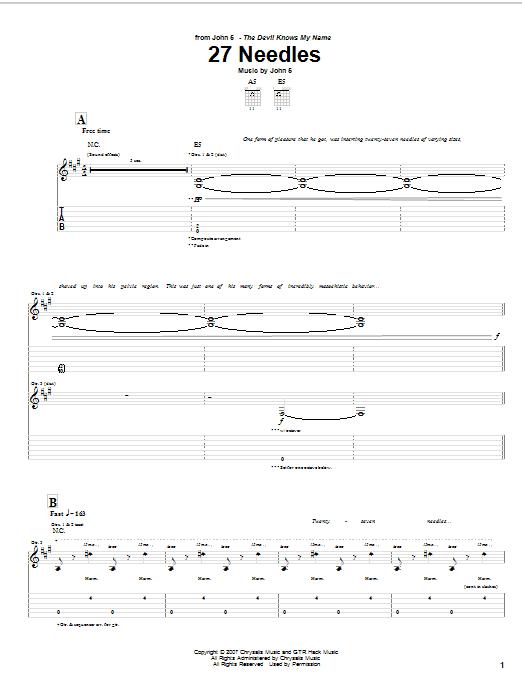 Tablature guitare 27 Needles de John 5 - Tablature Guitare
