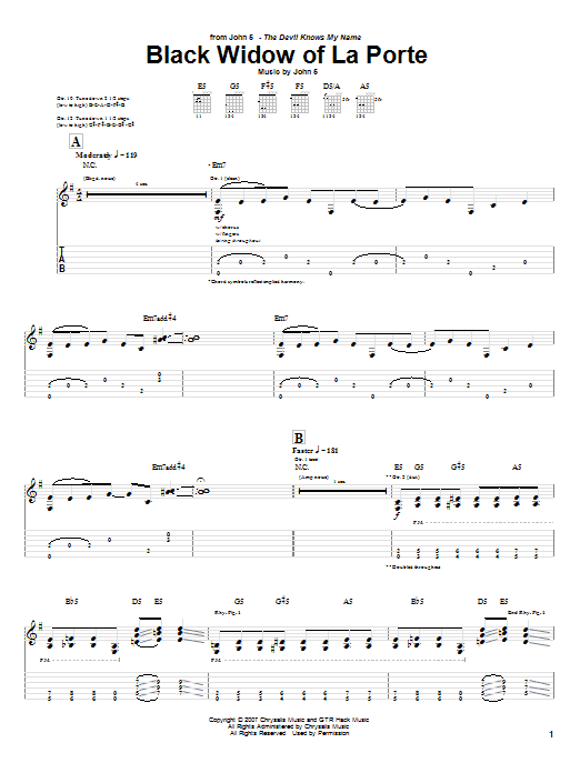 Black Widow Of La Porte sheet music for guitar solo (tablature) by John5