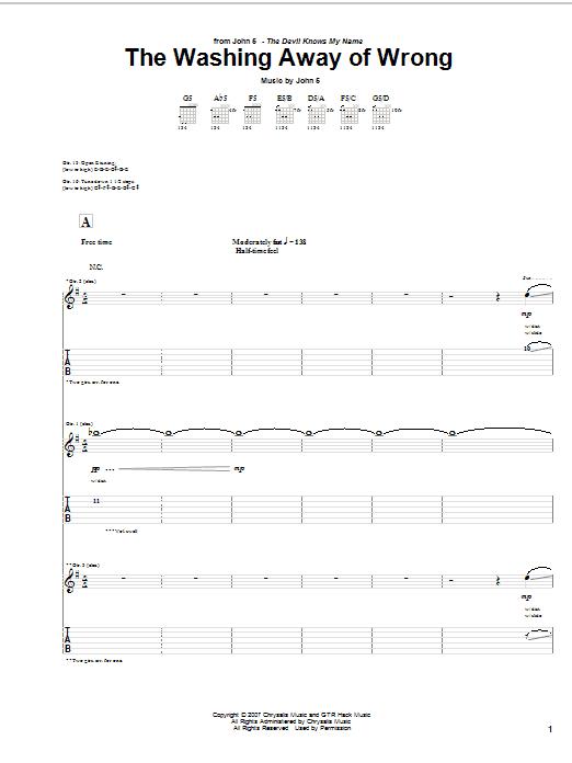 Tablature guitare The Washing Away Of Wrong de John 5 - Tablature Guitare