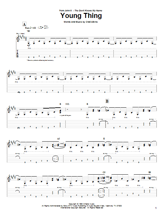 Young Thing sheet music for guitar solo (tablature) by Chet Atkins
