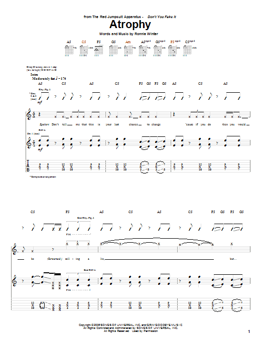Tablature guitare Atrophy de The Red Jumpsuit Apparatus - Tablature Guitare