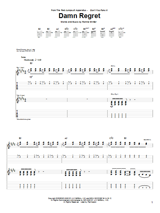 Tablature guitare Damn Regret de The Red Jumpsuit Apparatus - Tablature Guitare