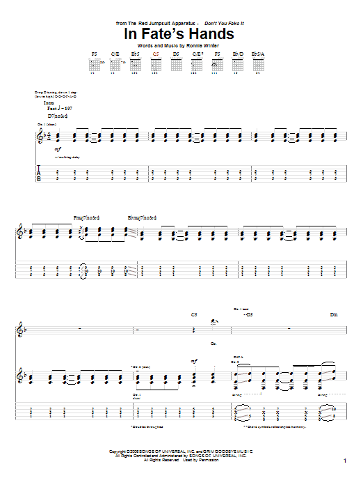 Tablature guitare In Fate's Hands de The Red Jumpsuit Apparatus - Tablature Guitare