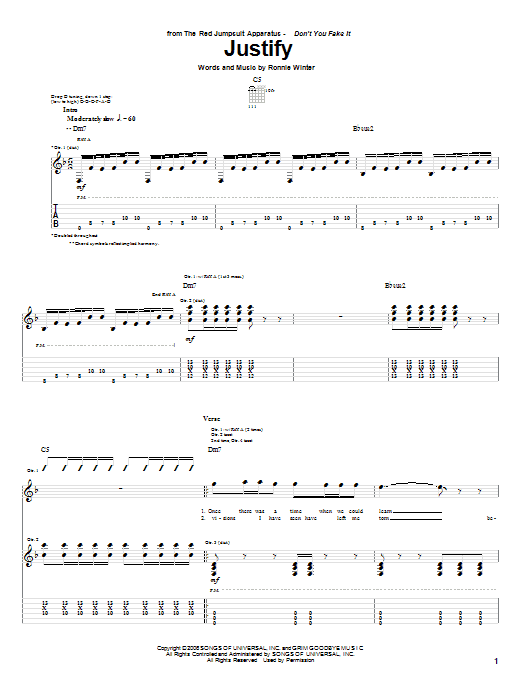Tablature guitare Justify de The Red Jumpsuit Apparatus - Tablature Guitare