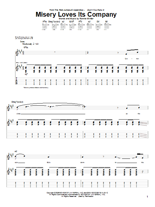 Tablature guitare Misery Loves Its Company de The Red Jumpsuit Apparatus - Tablature Guitare
