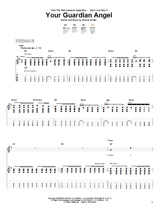 Your Guardian Angel sheet music for guitar solo (tablature) by Ronnie Winter