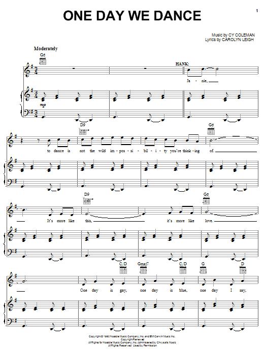 Partition piano One Day We Dance de Cy Coleman - Piano Voix Guitare (Mélodie Main Droite)