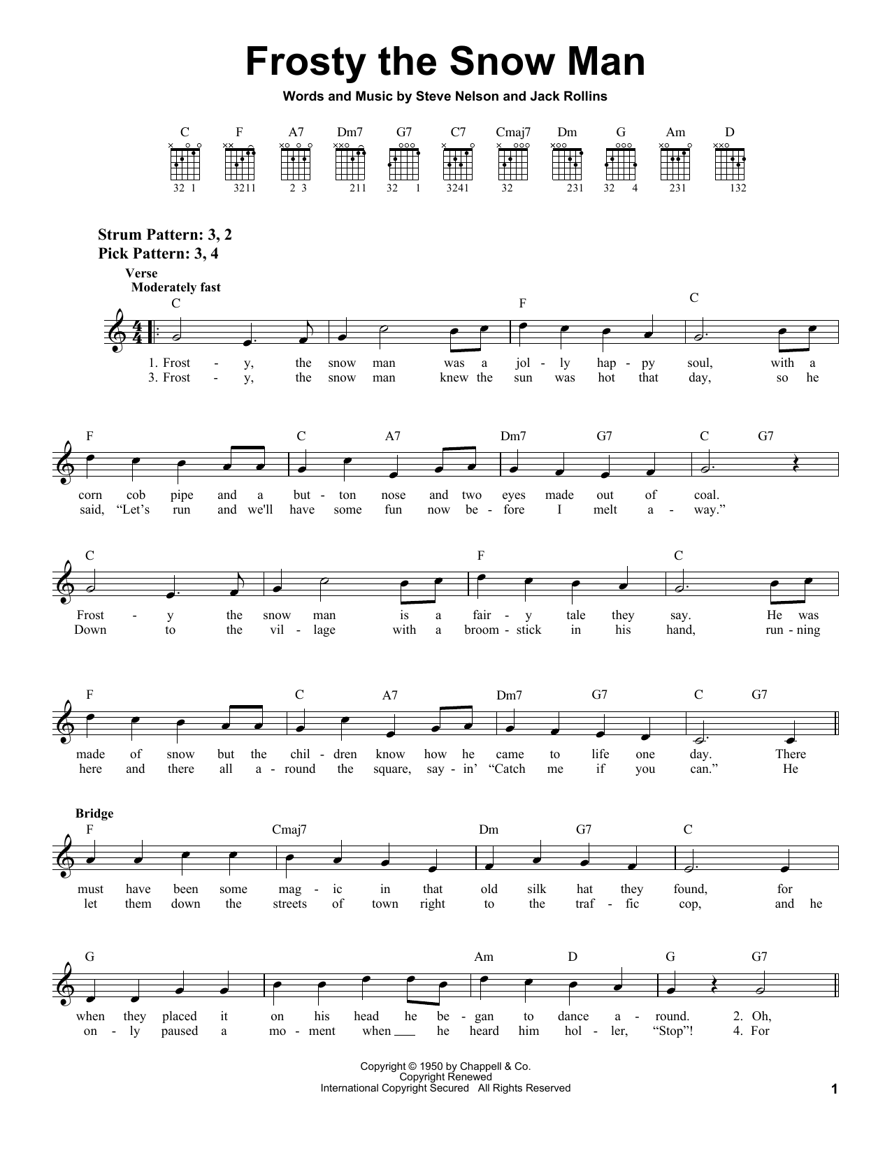 Tablature guitare Frosty The Snow Man de Jack Rollins - Tablature guitare facile