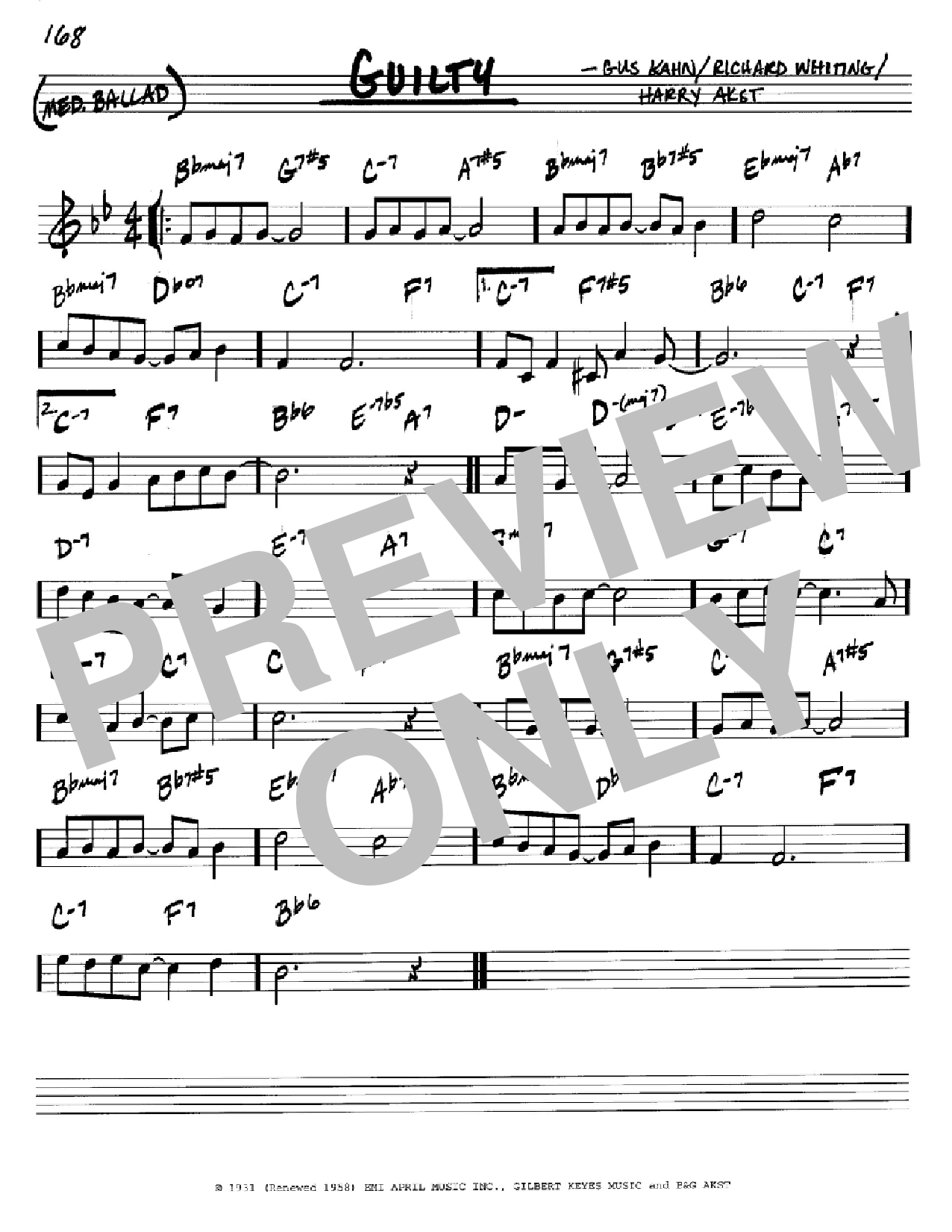Guilty sheet music for voice and other instruments (C) by Richard A. Whiting