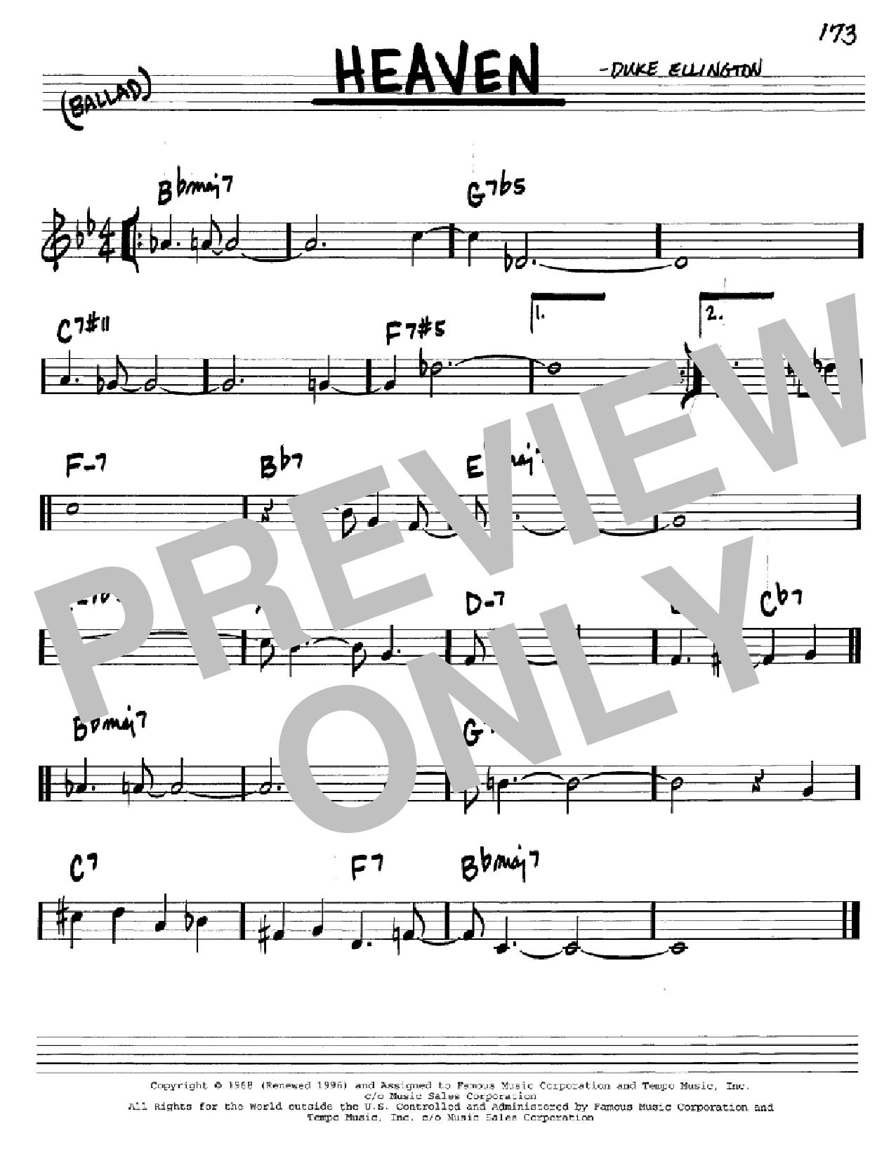 Partition autre Heaven de Duke Ellington - Real Book, Melodie et Accords, Inst. En Do