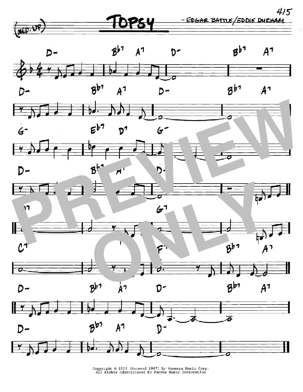 Partition autre Topsy de Cozy Cole - Real Book, Melodie et Accords, Inst. En Do