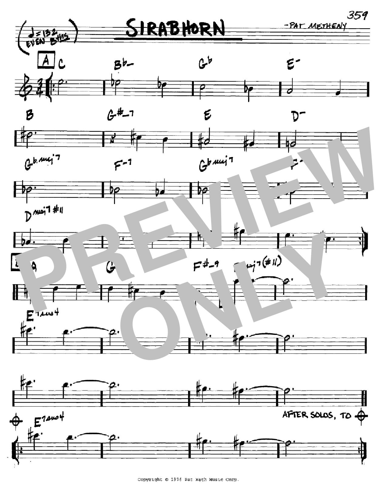 Partition autre Sirabhorn de Pat Metheny - Real Book, Melodie et Accords, Inst. En Do