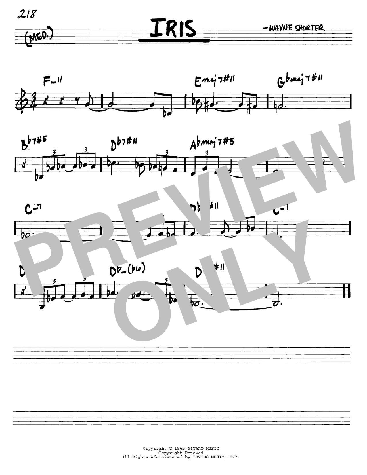 Partition autre Iris de Wayne Shorter - Real Book, Melodie et Accords, Inst. En Do