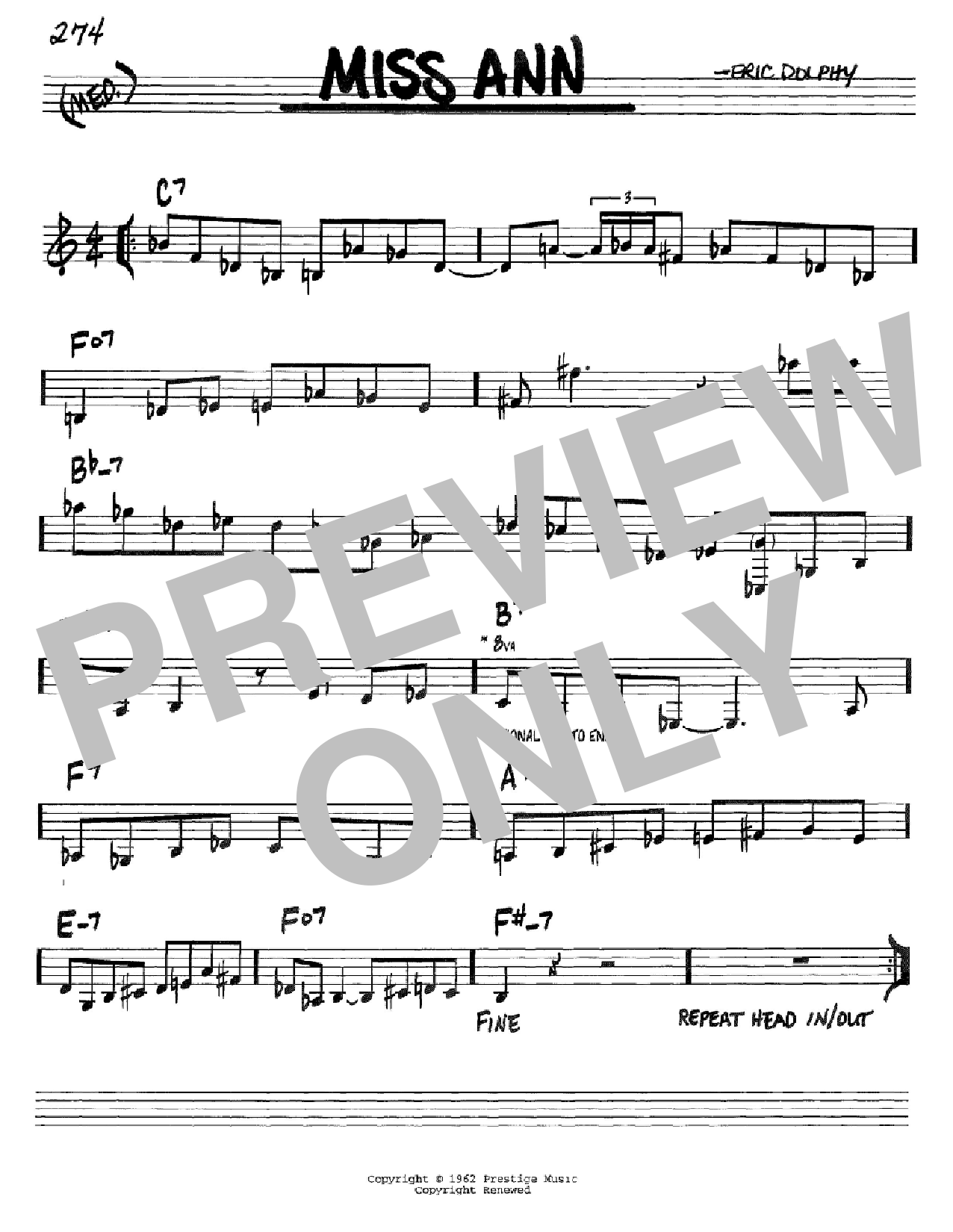 Partition autre Miss Ann de Eric Dolphy - Real Book, Melodie et Accords, Inst. En Do