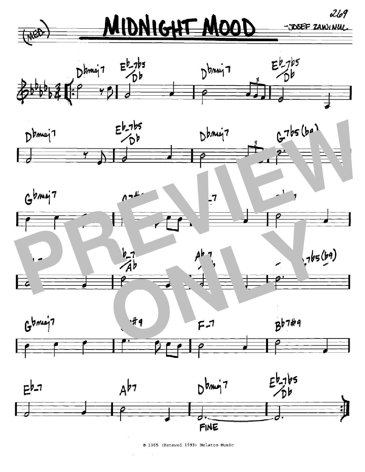 Partition autre Midnight Mood de Josef Zawinul - Real Book, Melodie et Accords, Inst. En Do