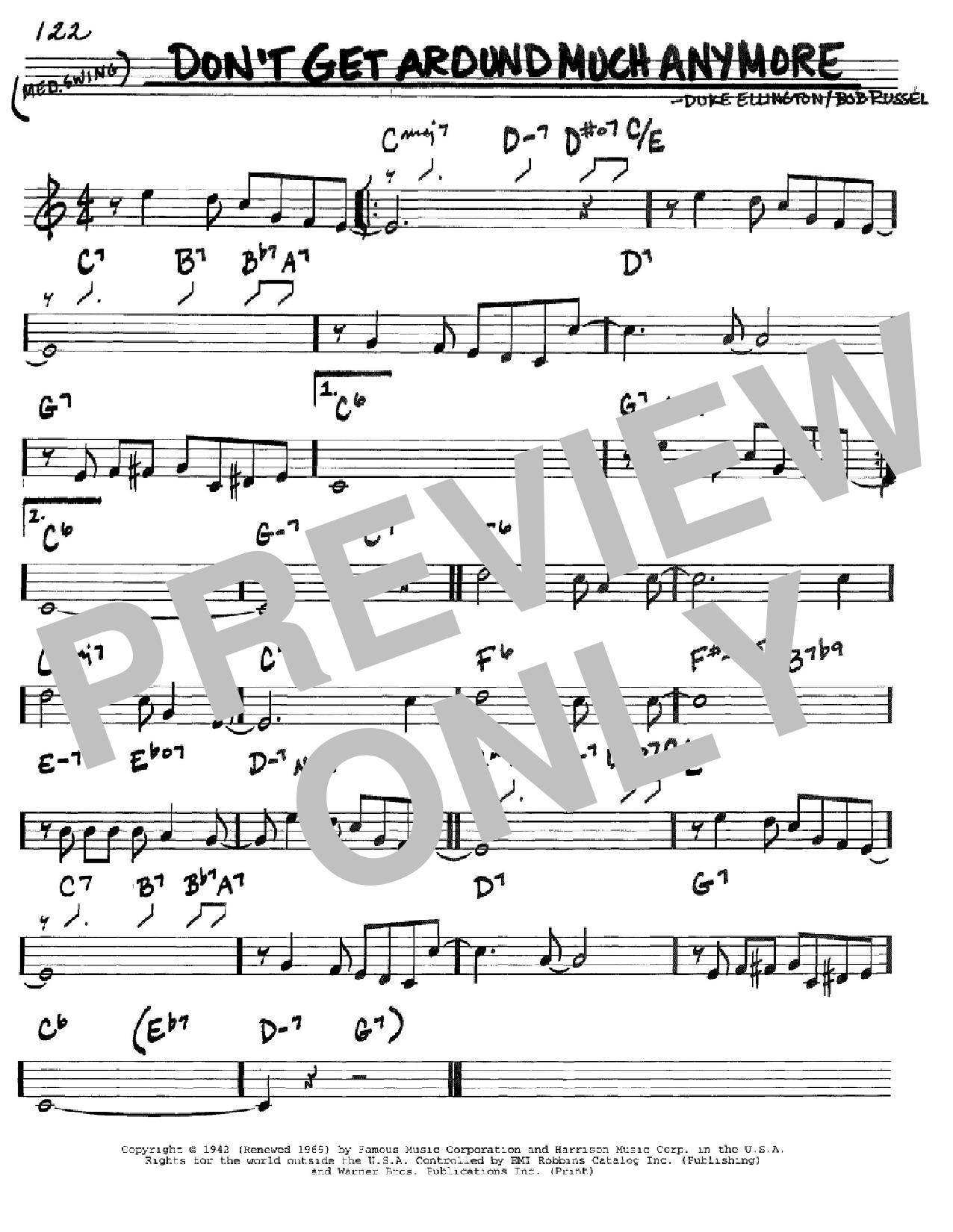 Partition autre Don't Get Around Much Anymore de Duke Ellington - Real Book, Melodie et Accords, Inst. En Do