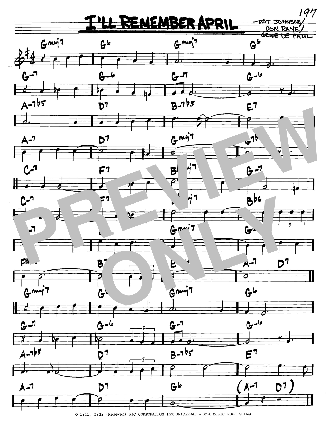 Partition autre I'll Remember April de Woody Herman - Real Book, Melodie et Accords, Inst. En Do