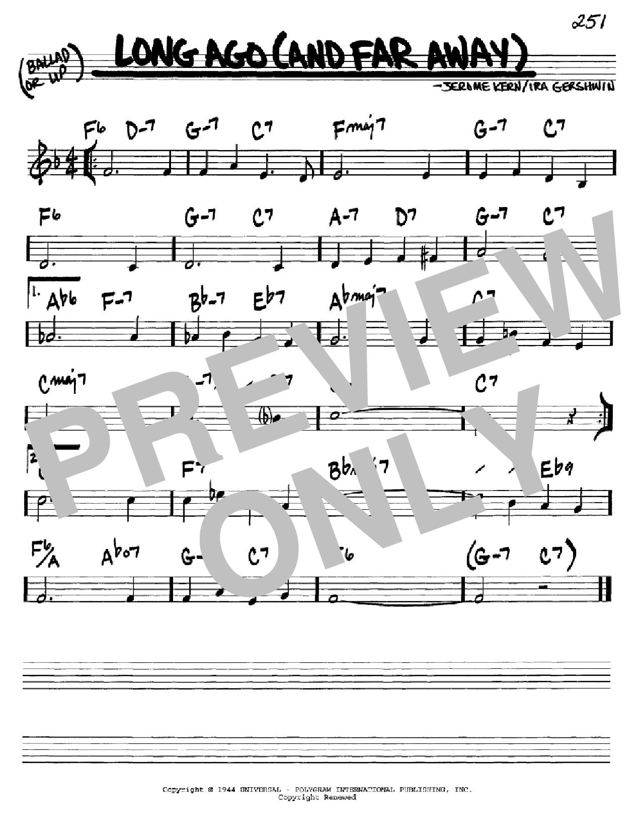 Partition autre Long Ago (And Far Away) de Jerome Kern - Real Book, Melodie et Accords, Inst. En Do