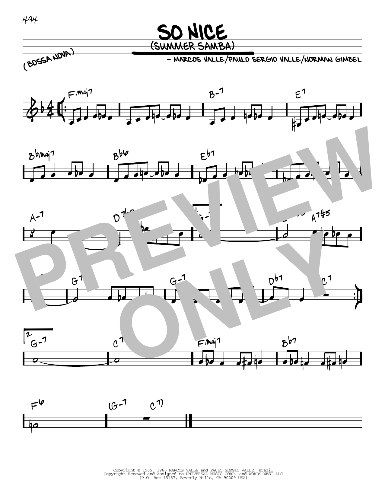 Partition autre So Nice (Summer Samba) de Norman Gimbel - Real Book, Melodie et Accords, Inst. En Do