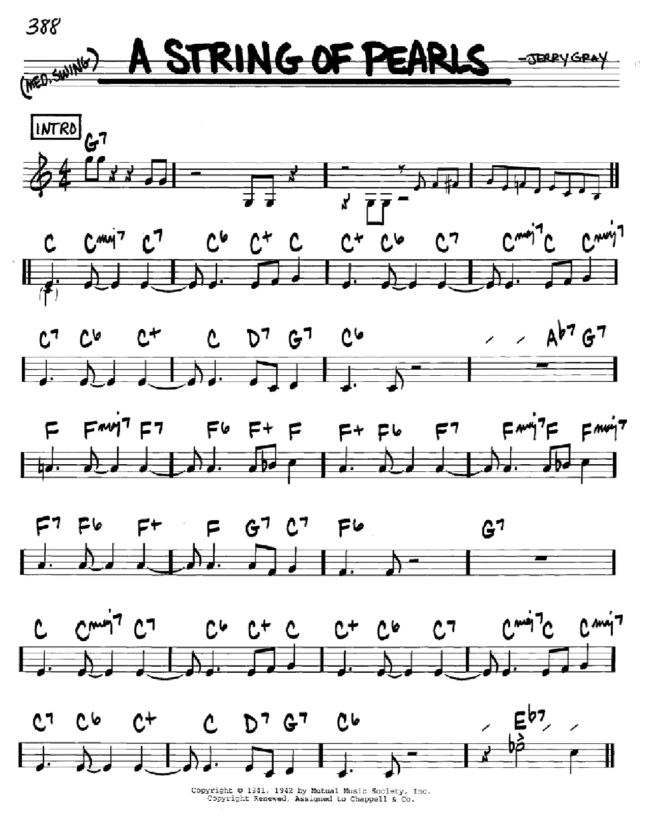 A String Of Pearls sheet music for voice and other instruments (C) by Jerry Gray