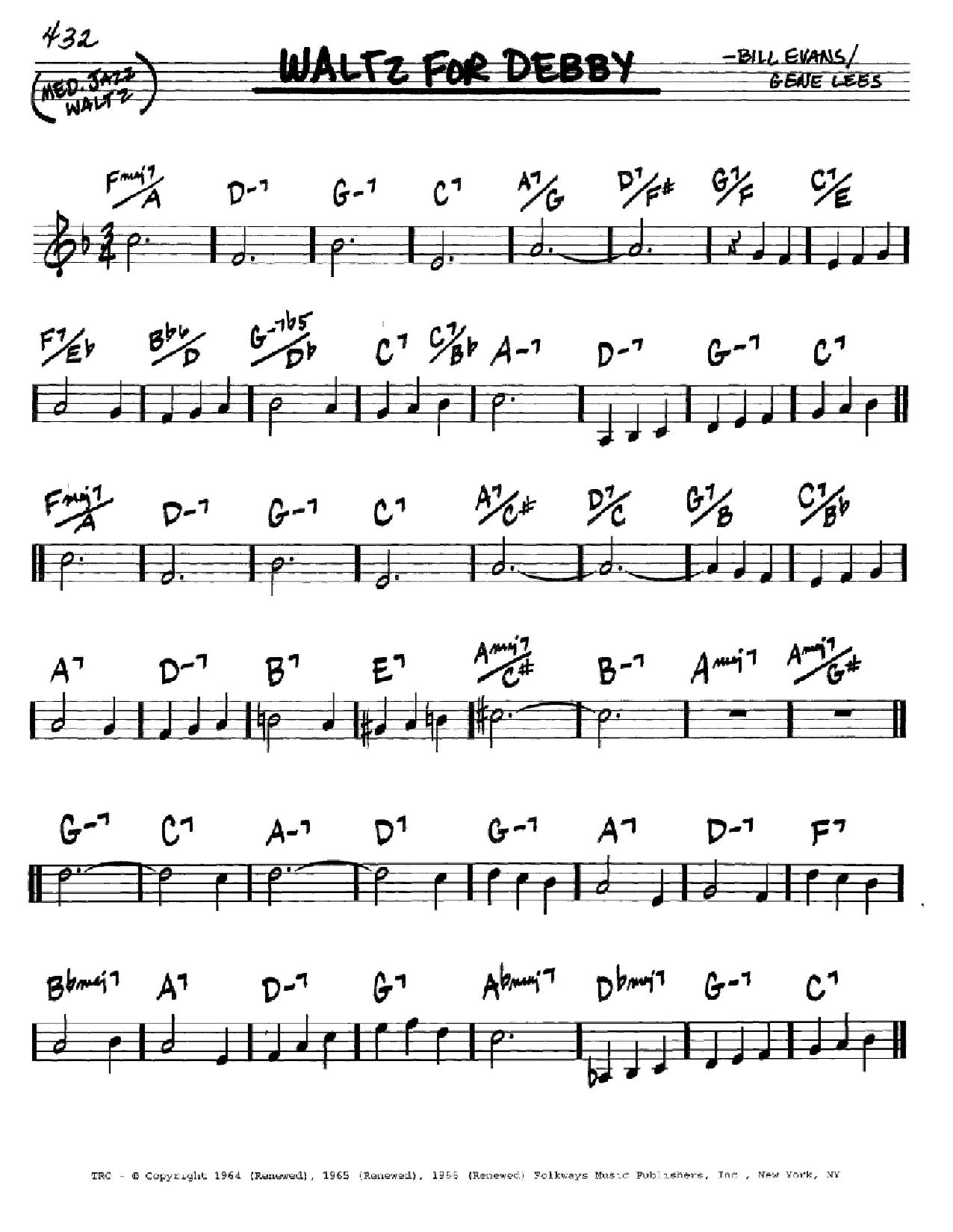 Partition autre Waltz For Debby de Bill Evans - Real Book, Melodie et Accords, Inst. En Do