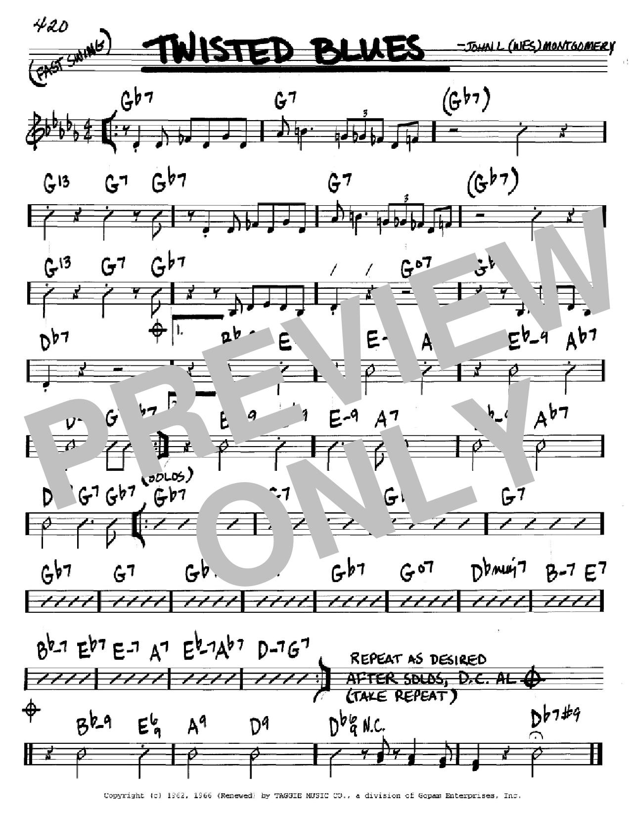 Partition autre Twisted Blues de Wes Montgomery - Real Book, Melodie et Accords, Inst. En Do