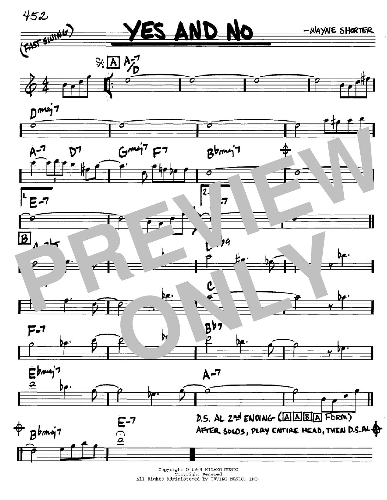 Partition autre Yes And No de Wayne Shorter - Real Book, Melodie et Accords, Inst. En Do