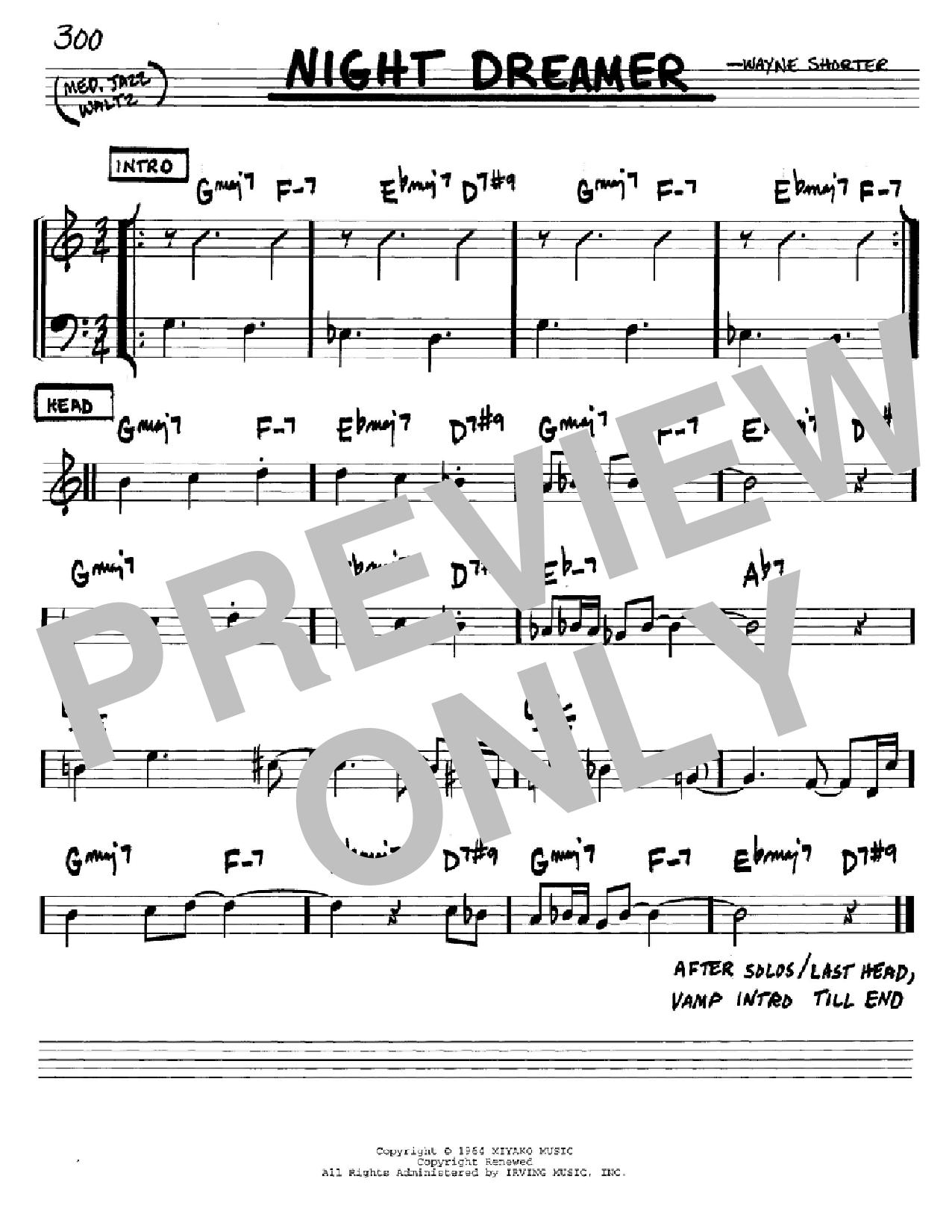 Partition autre Night Dreamer de Wayne Shorter - Real Book, Melodie et Accords, Inst. En Do
