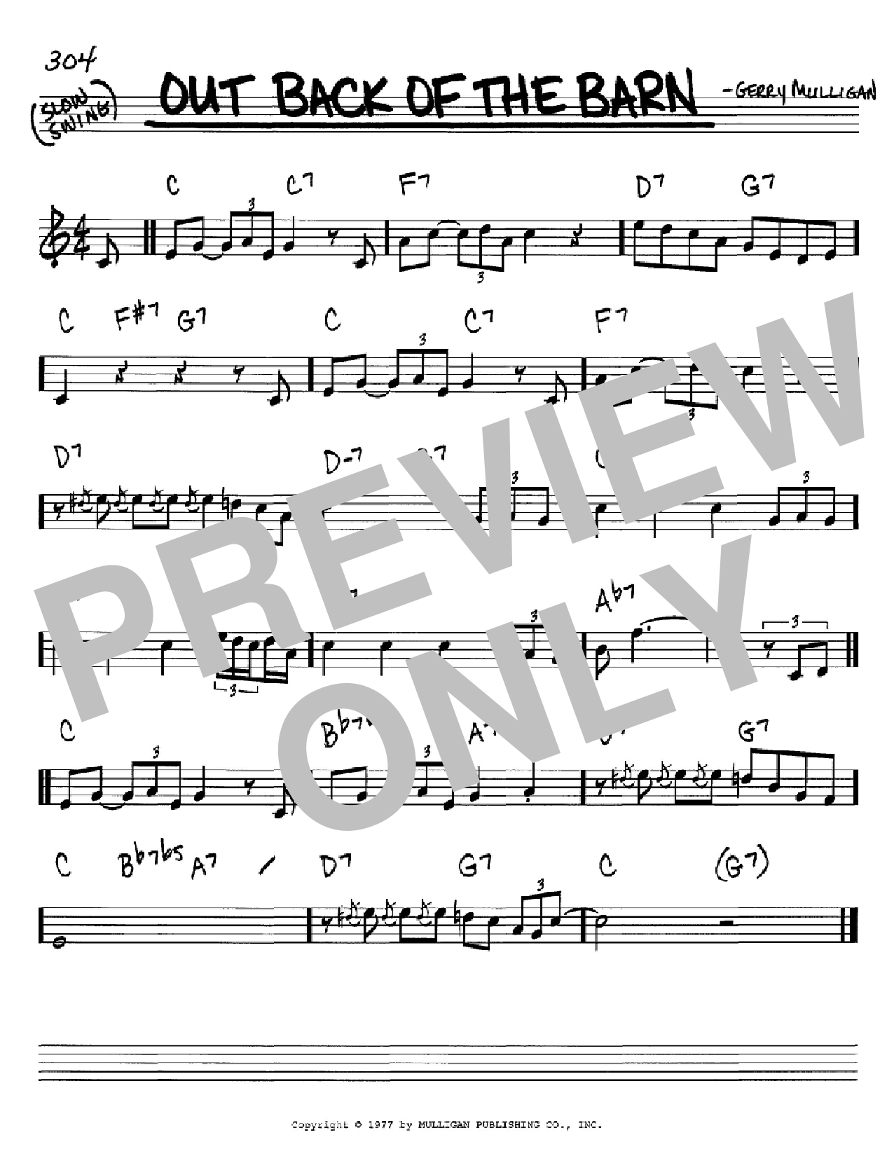 Out Back Of The Barn sheet music for voice and other instruments (C) by Gerry Mulligan