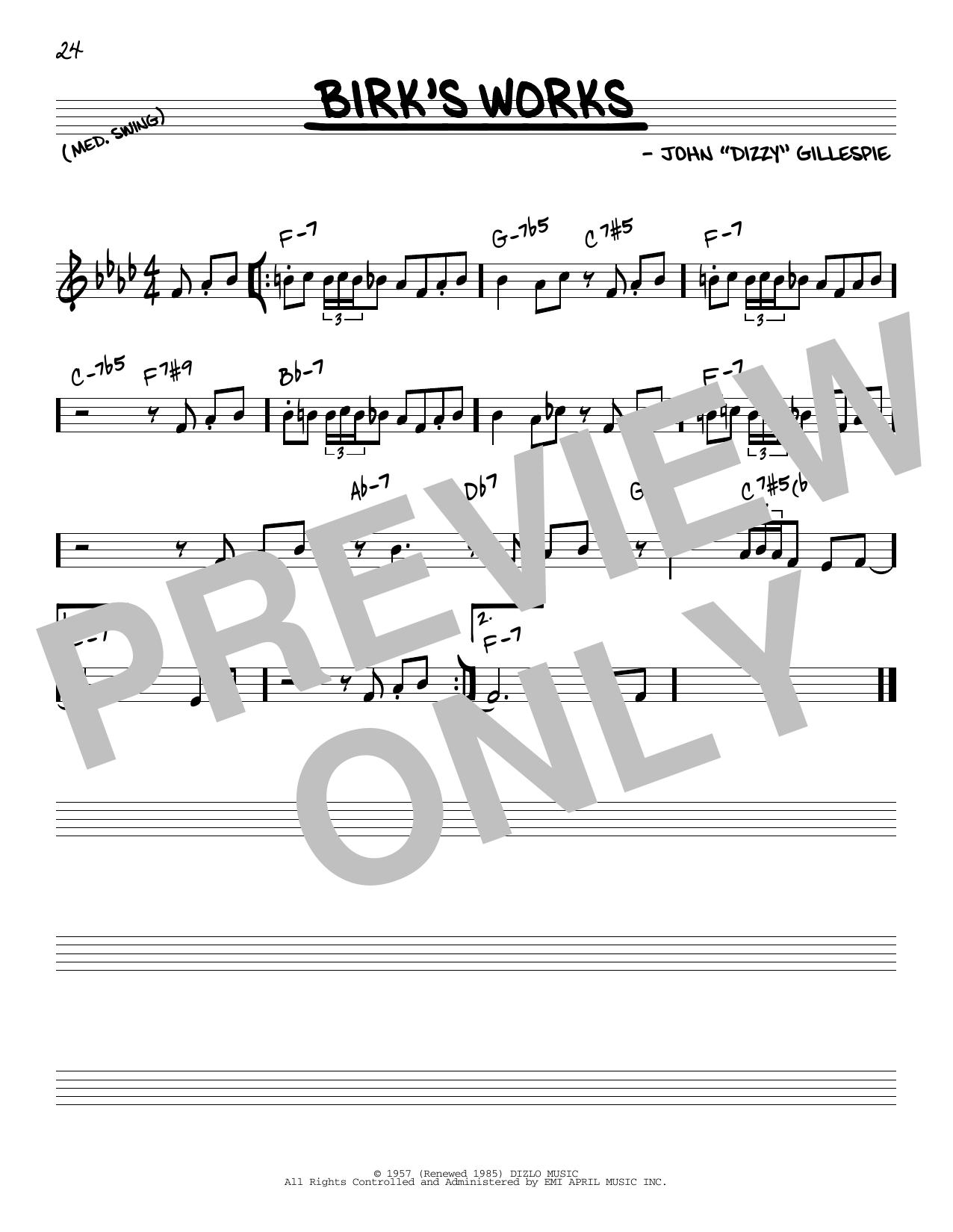 Partition autre Birk's Works de Dizzy Gillespie - Real Book, Melodie et Accords, Inst. En Do