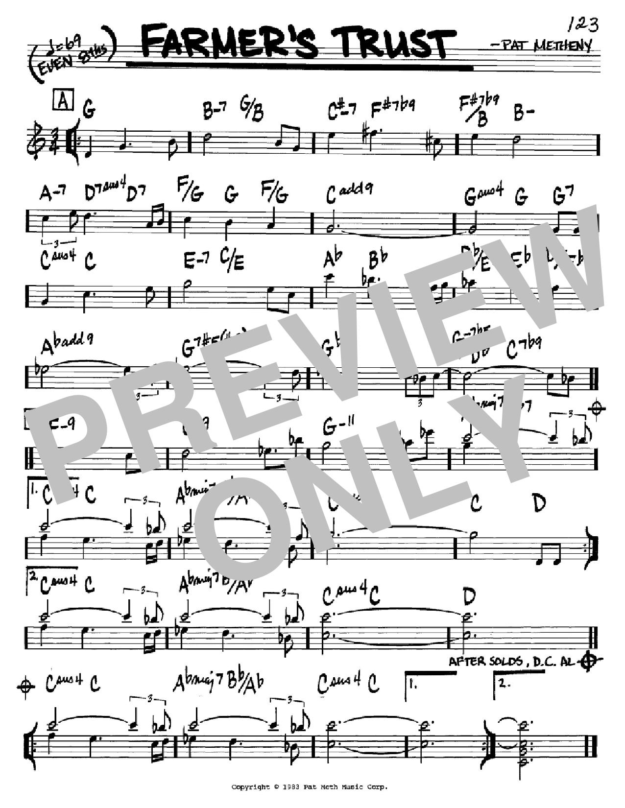 Partition autre Farmer's Trust de Pat Metheny - Real Book, Melodie et Accords, Inst. En Do
