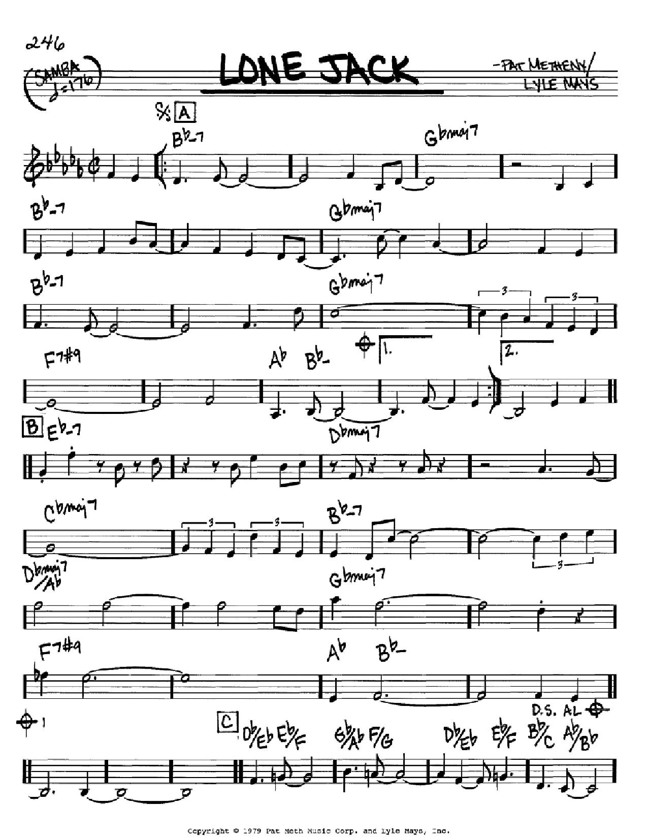 Partition autre Lone Jack de Pat Metheny - Real Book, Melodie et Accords, Inst. En Do