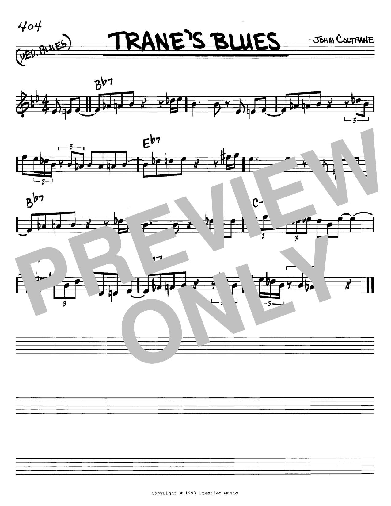 Partition autre Trane's Blues de John Coltrane - Real Book, Melodie et Accords, Inst. En Do