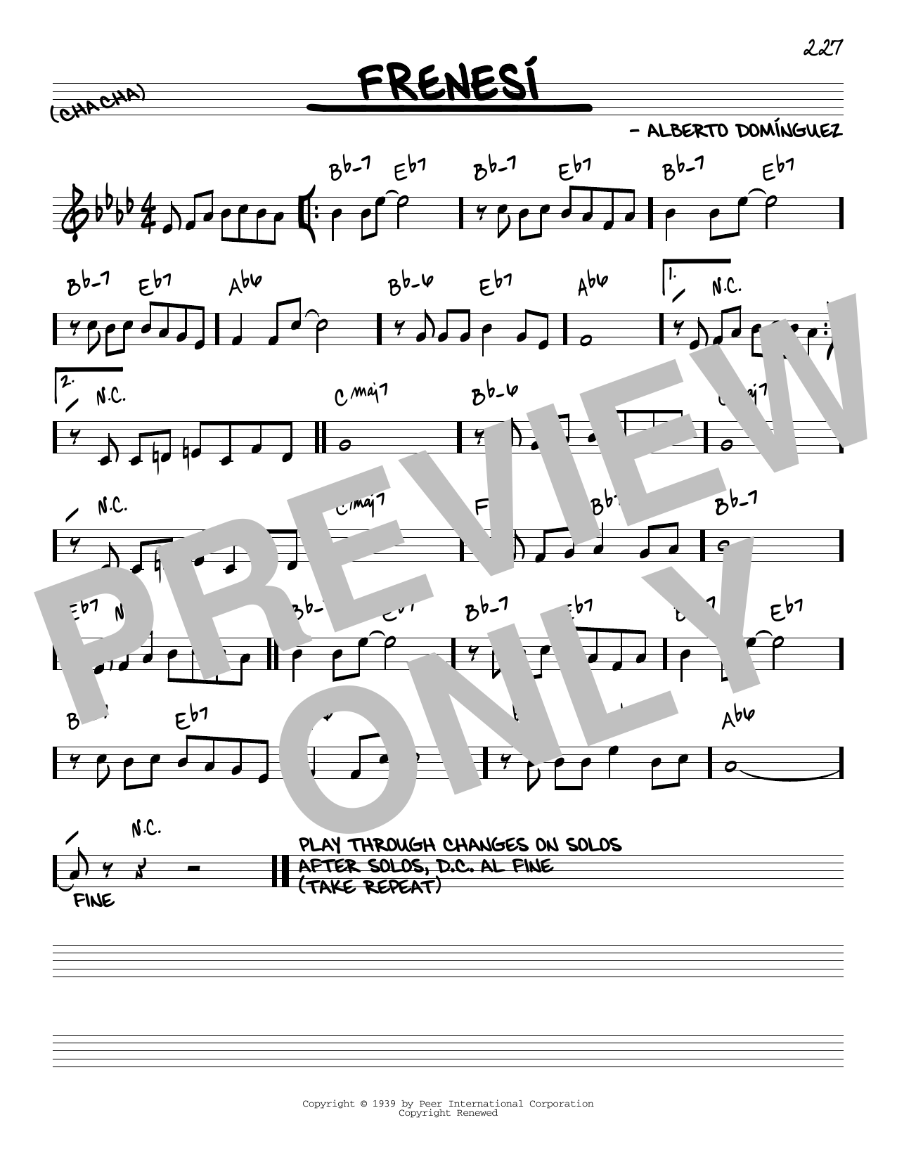 Frenesi sheet music for voice and other instruments (C) by Alberto Dominguez