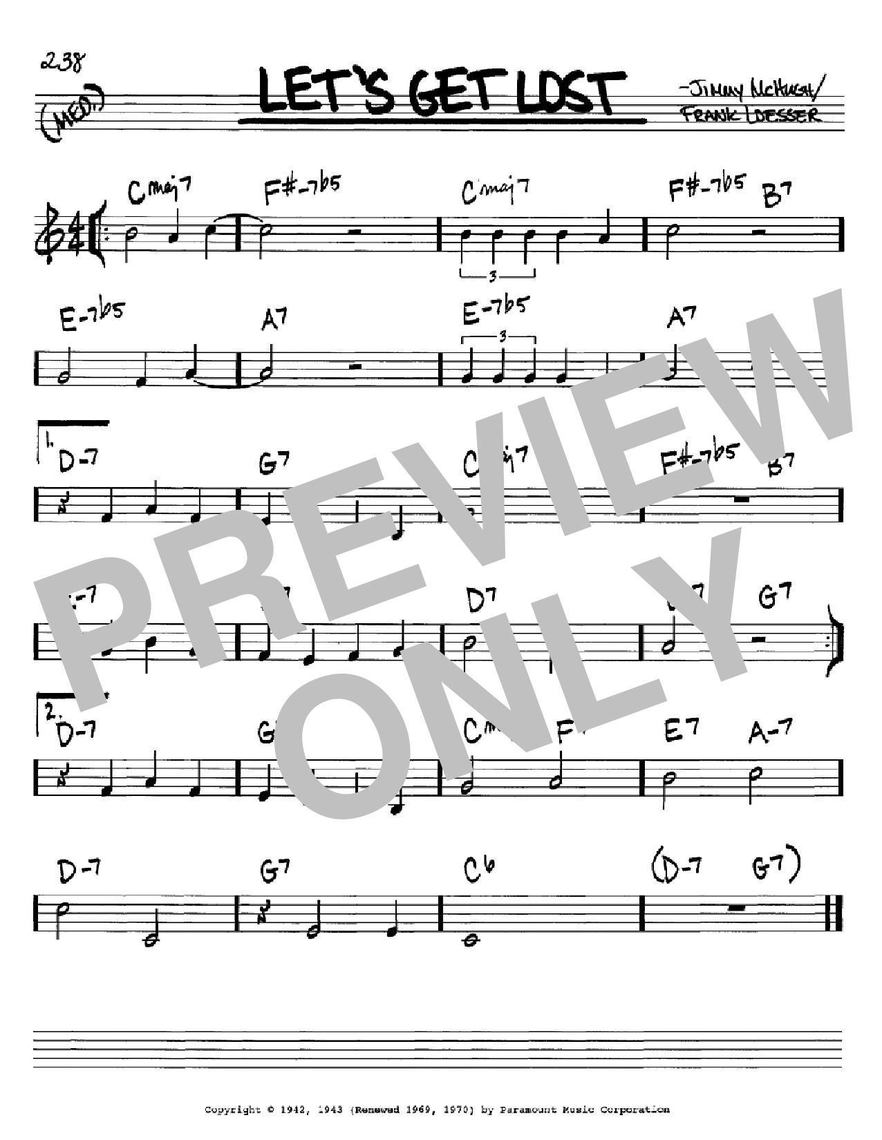 Partition autre Let's Get Lost de Jimmy Dorsey - Real Book, Melodie et Accords, Inst. En Do