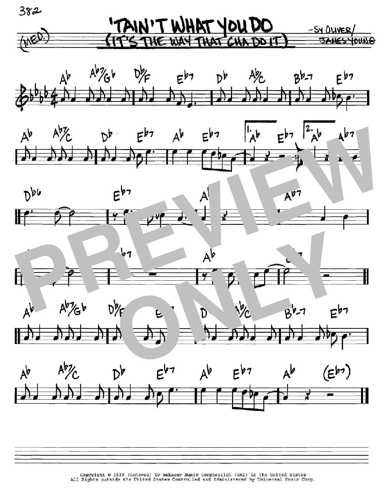 'Tain't What You Do (It's The Way That Cha Do It) sheet music for voice and other instruments (C) by Sy Oliver