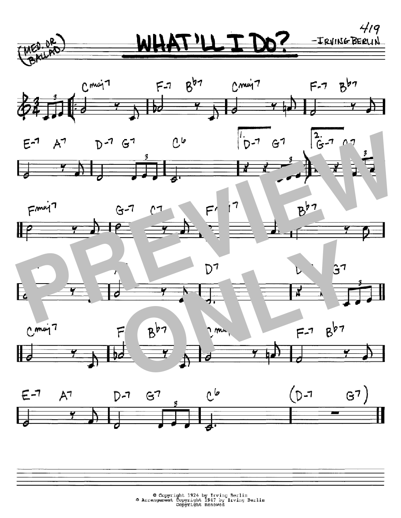 Partition autre What'll I Do de Irving Berlin - Real Book, Melodie et Accords, Inst. En Do