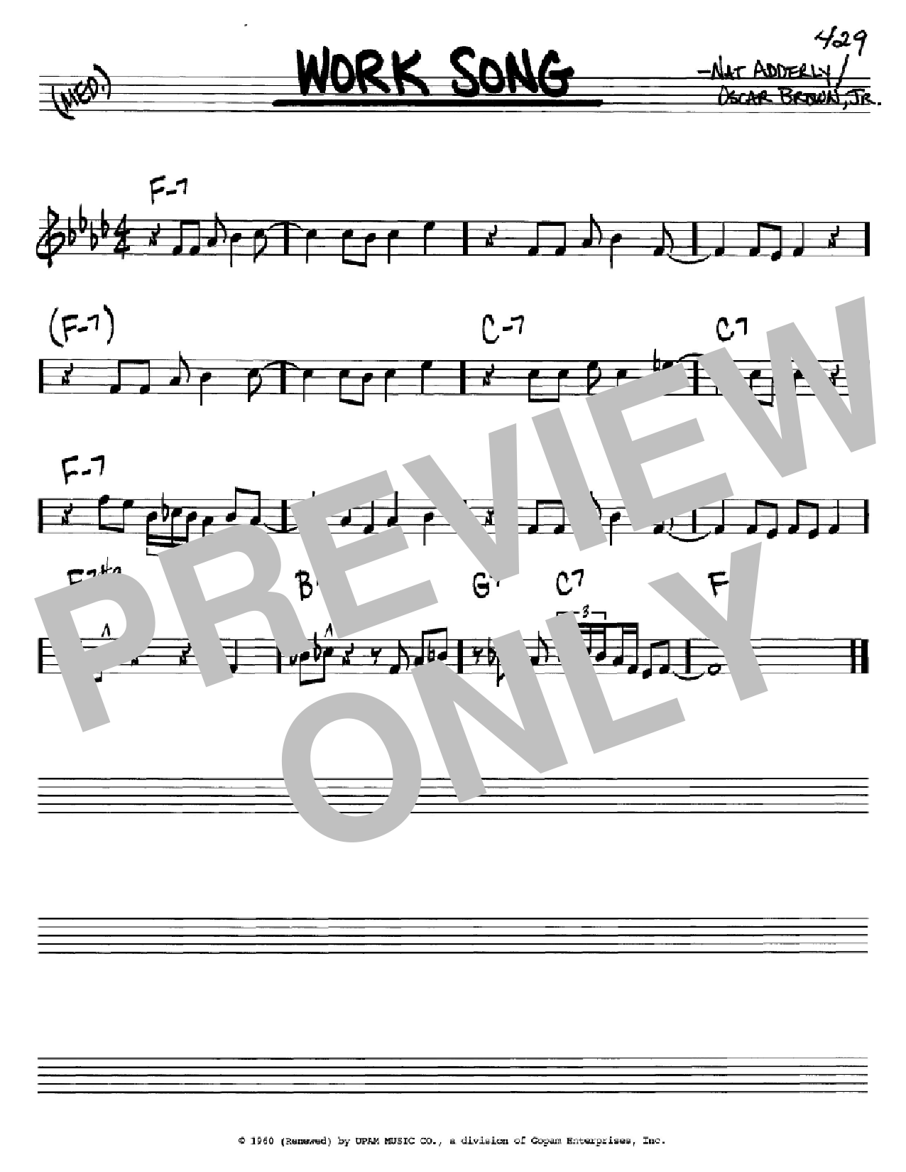 Work Song sheet music for voice and other instruments (C) by Oscar Brown, Jr.