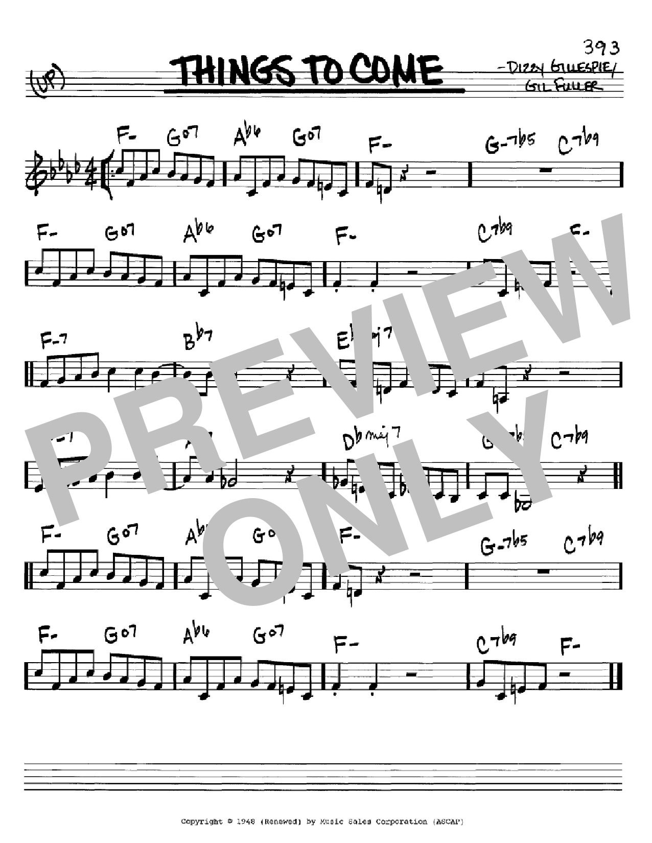 Partition autre Things To Come de Dizzy Gillespie - Real Book, Melodie et Accords, Inst. En Do