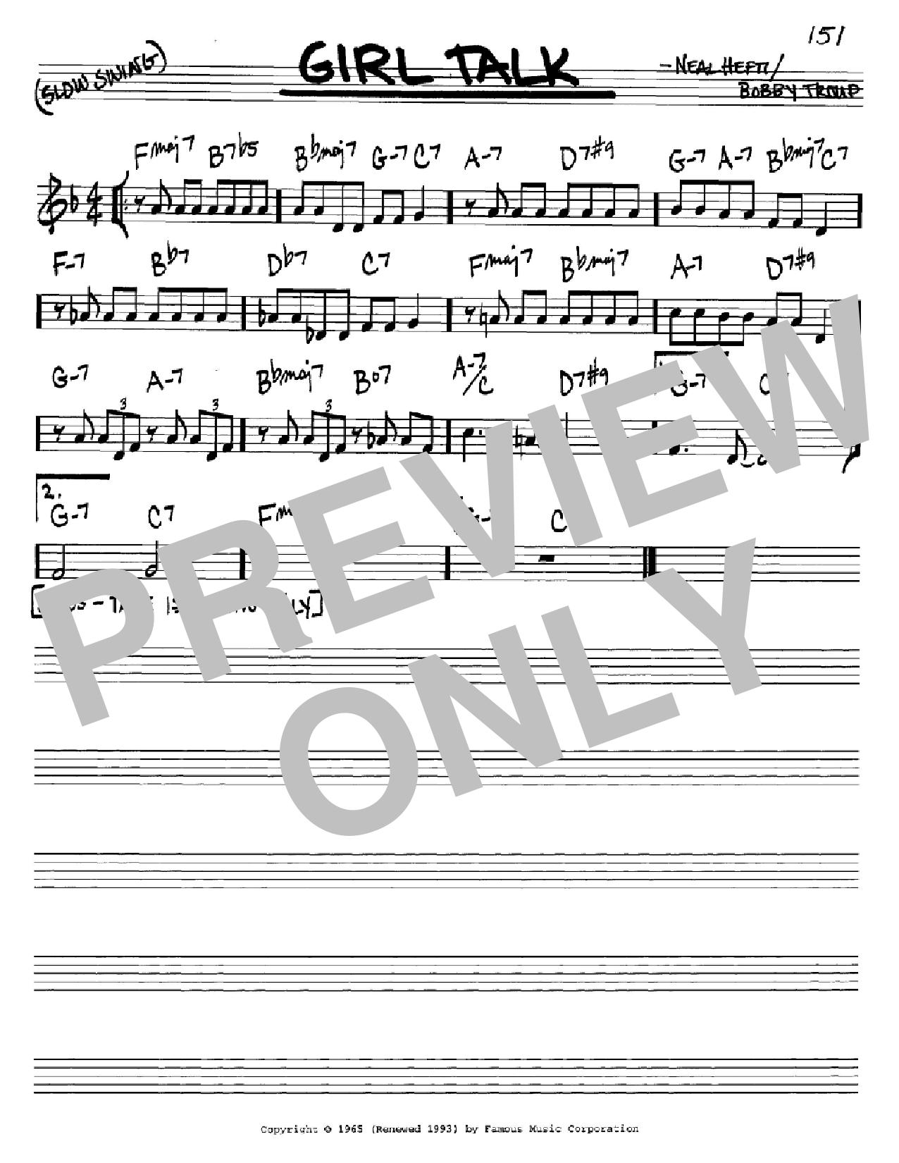Partition autre Girl Talk de Neal Hefti - Real Book, Melodie et Accords, Inst. En Do