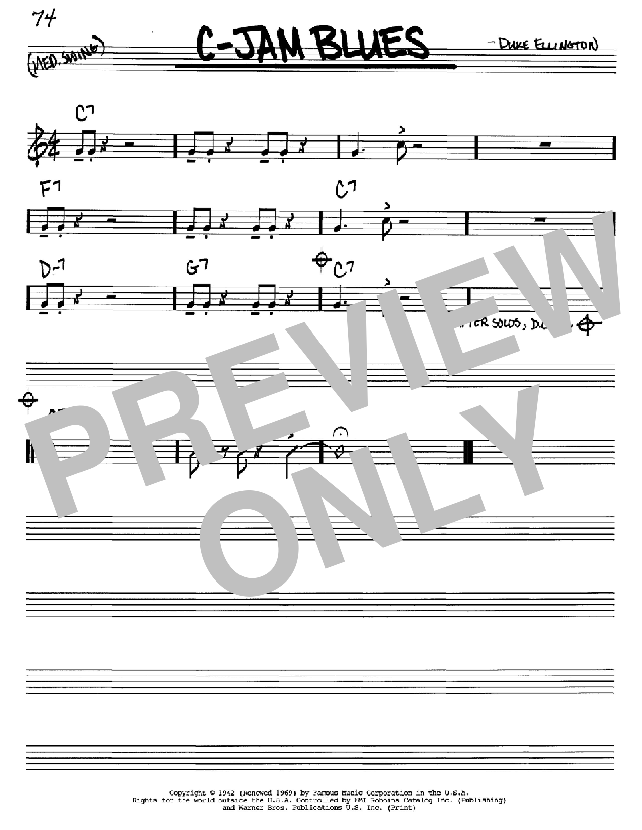 C-Jam Blues sheet music for voice and other instruments (C) by Duke Ellington