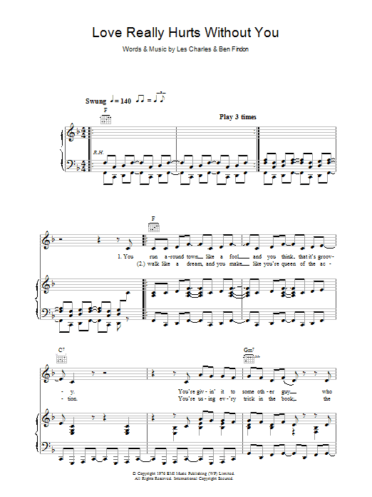 Love Really Hurts Without You sheet music for voice, piano or guitar by Ben Findon