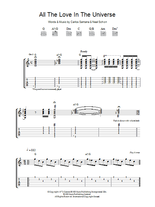 All The Love In The Universe by Santana - Guitar Tab - Guitar Instructor