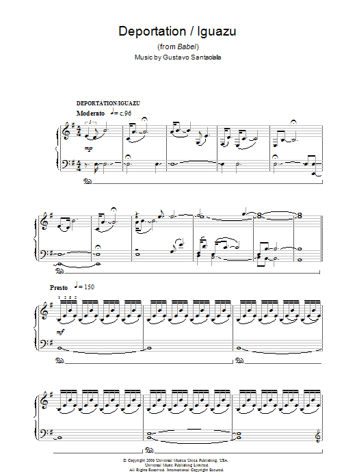 Deportation/Iguazu (from Babel) sheet music for piano solo by Gustavo Santaolalla