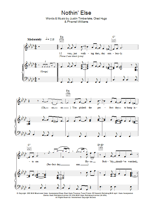 Nothin' Else sheet music for voice, piano or guitar by Charles Hugo