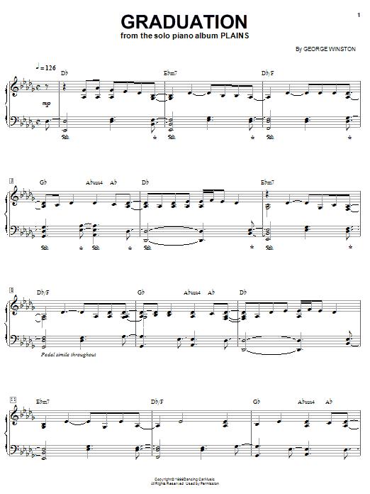 Partition piano Graduation de George Winston - Piano Solo