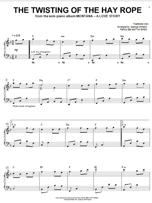 Partition piano The Twisting Of The Hay Rope de George Winston - Piano Solo