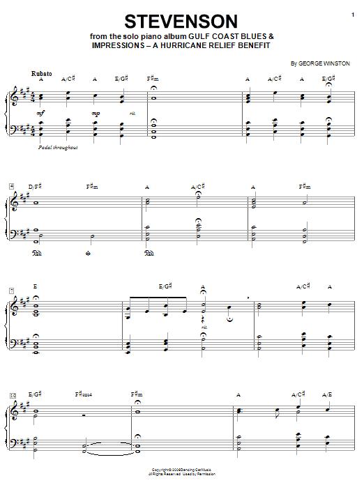 Partition piano Stevenson de George Winston - Piano Solo